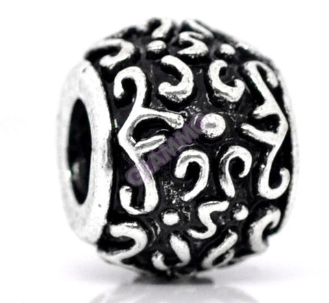 Black Silver Squiggle Round Spacer European Bead #ch4305