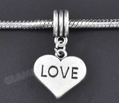 Love Dangling Heart European Bead #lf3705