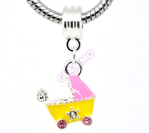 Dangling Yellow Pink Baby Stroller European Bead #ba4052