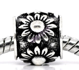 Black Silver-plated Flower European Bead #bl3530
