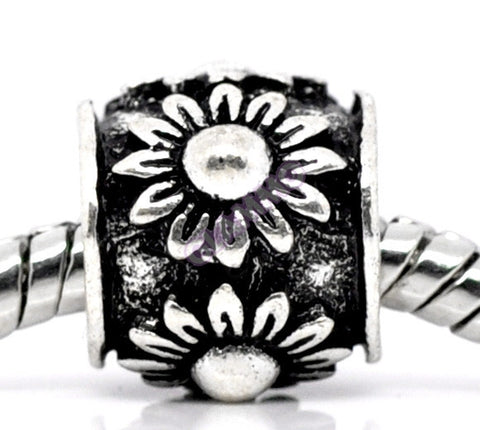 Black Silver-plated Sunflower Spacer European Bead #ch4308