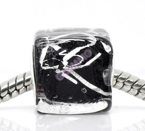 Black Silver Art Glass Cube European Bead #bl3531