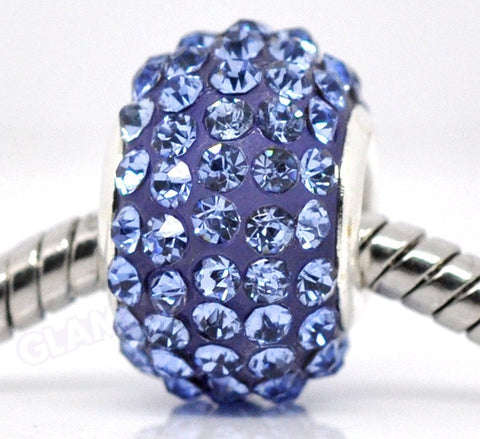 Blue Pave Crystal European Bead #rb3544