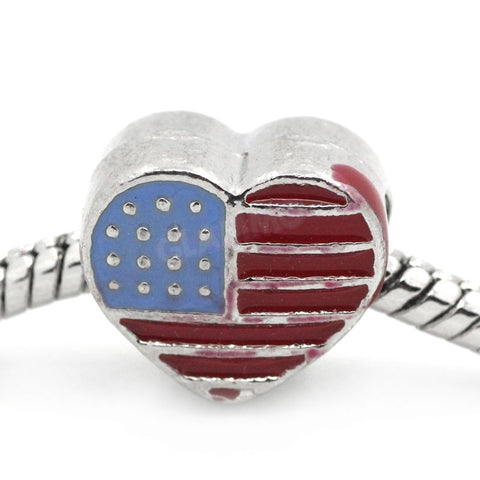 USA Heart Flag European Bead #fg4218