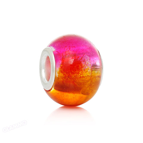 Orange Fuchsia Art Glass European Bead #or3514