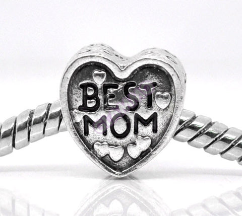 Best Mom Heart European Bead #fa3201