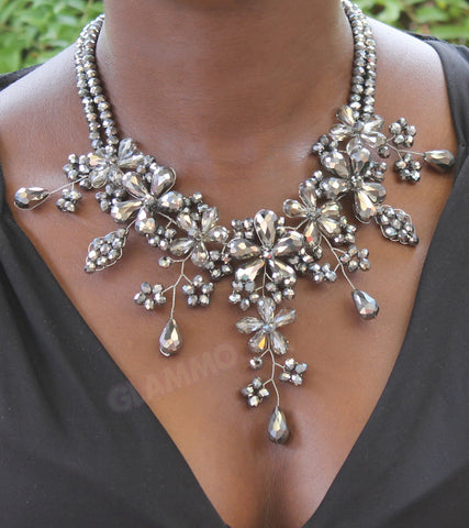 Silver grey Crystal necklace #cr3033