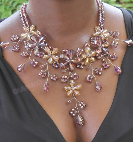 Mauve gold Crystal necklace #cr3036