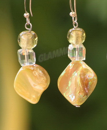 Natural Yellow Sea Shell Earrings #er4100