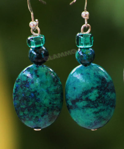 Chrysocolla Oval Earrings #er4114