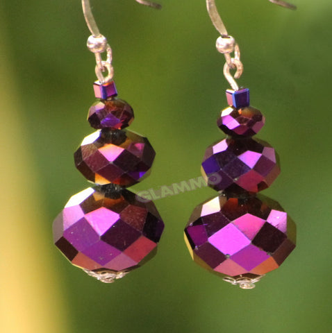 Faceted Metallic Purple Bohemian Crystal Earrings #er4115
