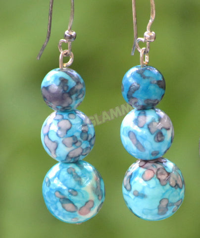 Blue Rain-flower stone earrings #er4109