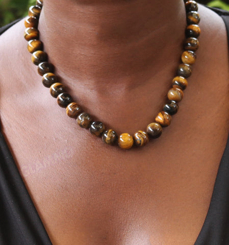 Round Tiger's eye bead 14mm necklace #st3063