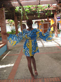 Blue yellow leopard chiffon beach cover-up #oy546