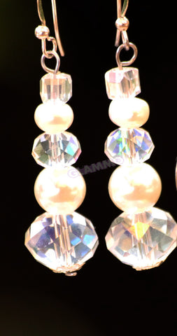 Clear Faceted Bohemian Crystal Freshwater Pearl Earrings #er4156
