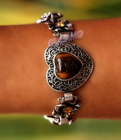 Elaborate Tiger's Eye Heart Bracelet #br5010