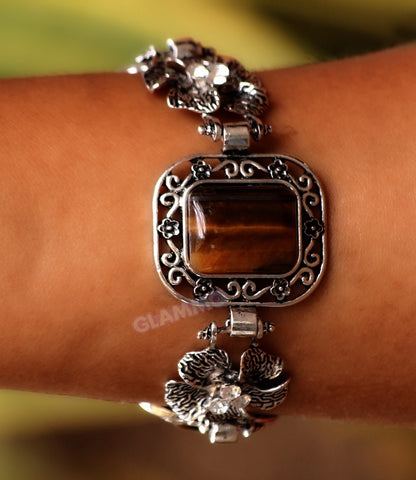 Tiger's Eye 3-Stone Rectangular bracelet #br5011