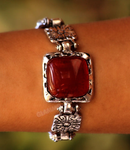 Square Carnelian Agate Bracelet Silver-plated Border #br5017