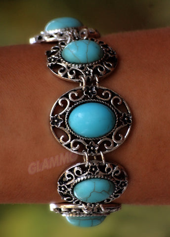 Classic Oval Turquoise 7-Stone Bracelet #br5023