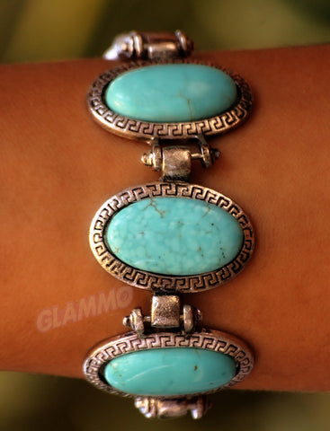 Classic Oval Turquoise 3-Stone Bracelet #br5024