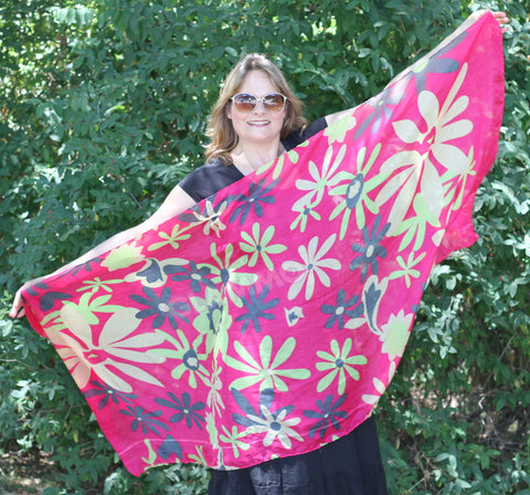 Hot pink giant flower maxi scarf #tg1912