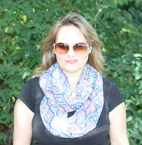 Pastel multi-colored diamond-shape infinity loop scarf #tg1911