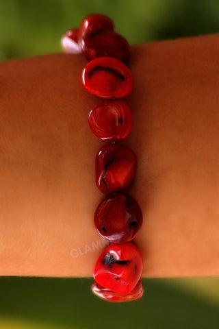 Natural Red Coral Bracelet #br5051
