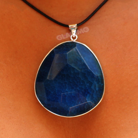 Faceted Midnight Blue Agate Big Pendant #pd3135
