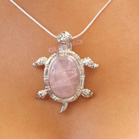 Rose Quartz Turtle Magnetic Snap Pendant #pd3107