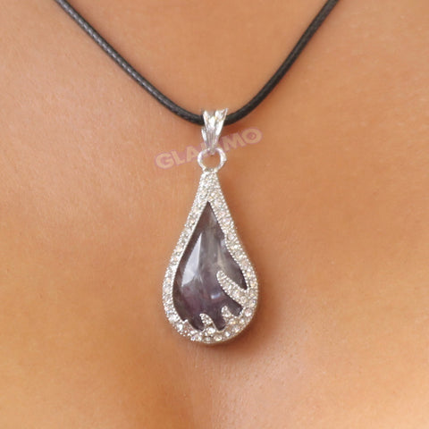 Amethyst Teardrop Fancy Border Pendant #pd3109