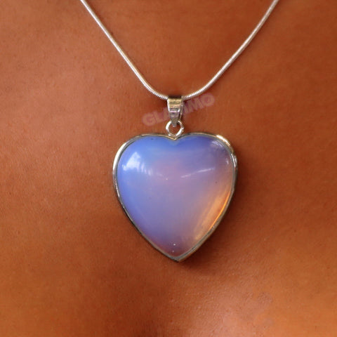 Stylish Sea-Opal Heart Pendant #pd3108