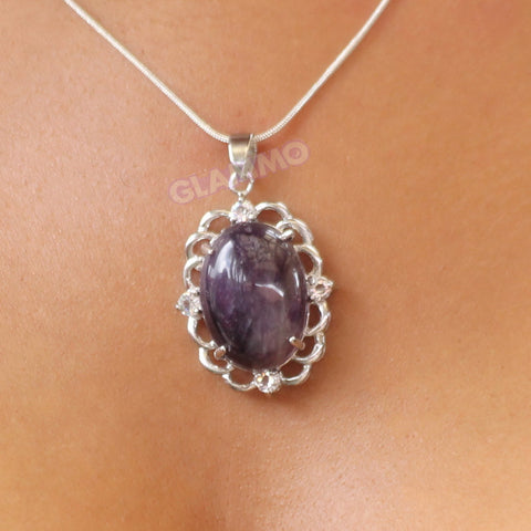 Oval Amethyst Curlicue Border Pendant #pd3112
