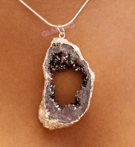 One-Of-A-Kind Amethyst Druzy Crystal Pendant #pd3132