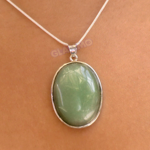 Oval Simple Jade Pendant #pd3114