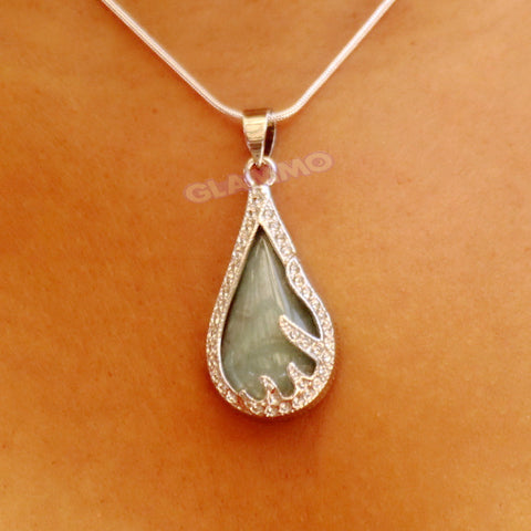 Jade Teardrop Fancy Border Pendant #pd3110