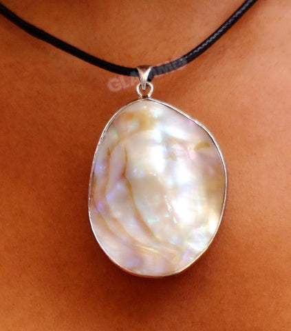 Big Natural White Shell Oval Pendant #pd3127