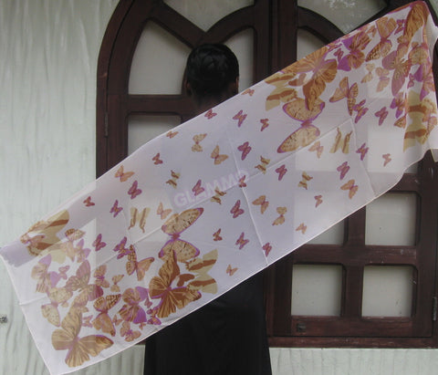 Brown purple butterfly chiffon scarf #tg1523