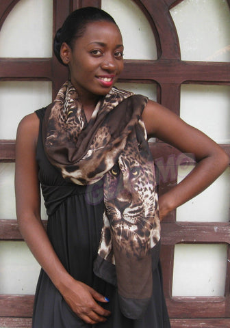 Brown leopard head silky scarf sarong #tg1525