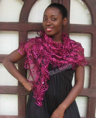 Fuchsia lace party scarf #ps1805