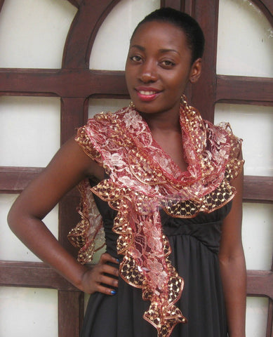 Coral gold lace ruffled party scarf #ps1808