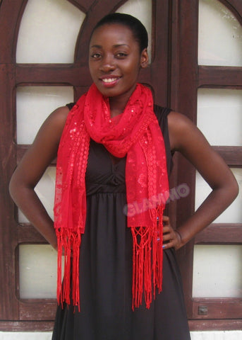 Red sequin fringe party scarf #ps1813
