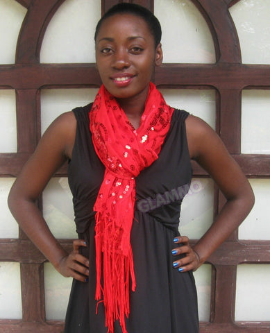 Red dotted sequin fringe party scarf #ps1819