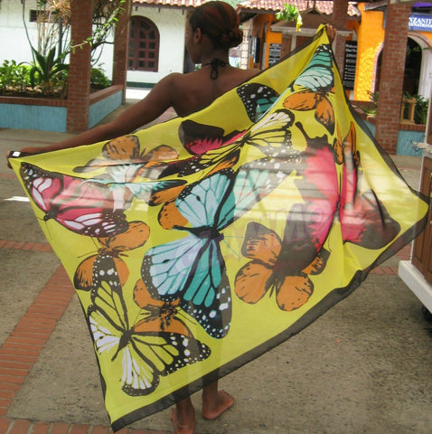 Yellow butterfly silky maxi scarf #tg1509