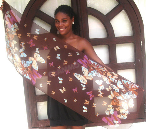 Brown cream butterfly chiffon scarf #tg1526