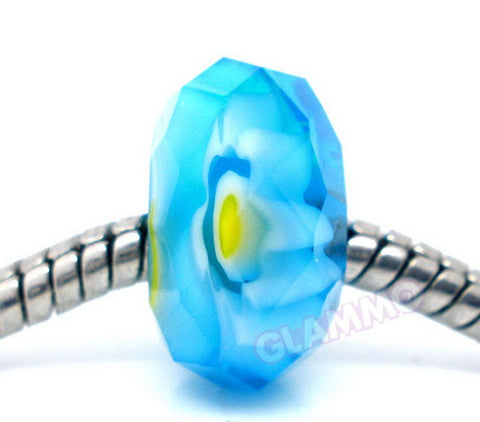 Faceted Sky Blue Art Glass European Bead #sb3650