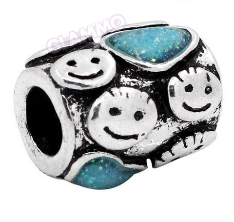 Cylindrical Baby Faces Blue Hearts European Bead #ba4053