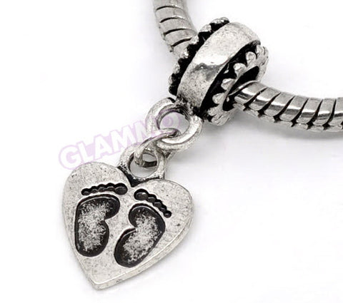 Dangling Baby Footprints European Bead #ba4056