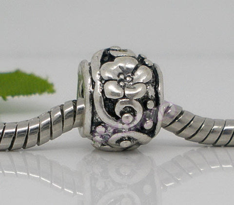 Black Silver-Plated Flower Spacer European Bead #ch4303