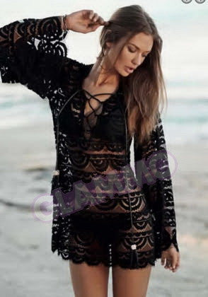 Black bell sleeve crocheted lace top #we213