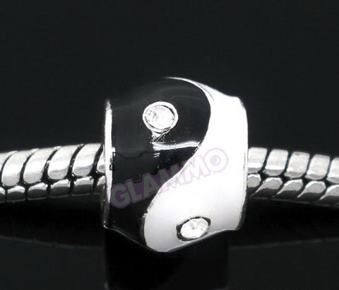 Black White Yin Yang Clear Crystal European Bead #bl3549